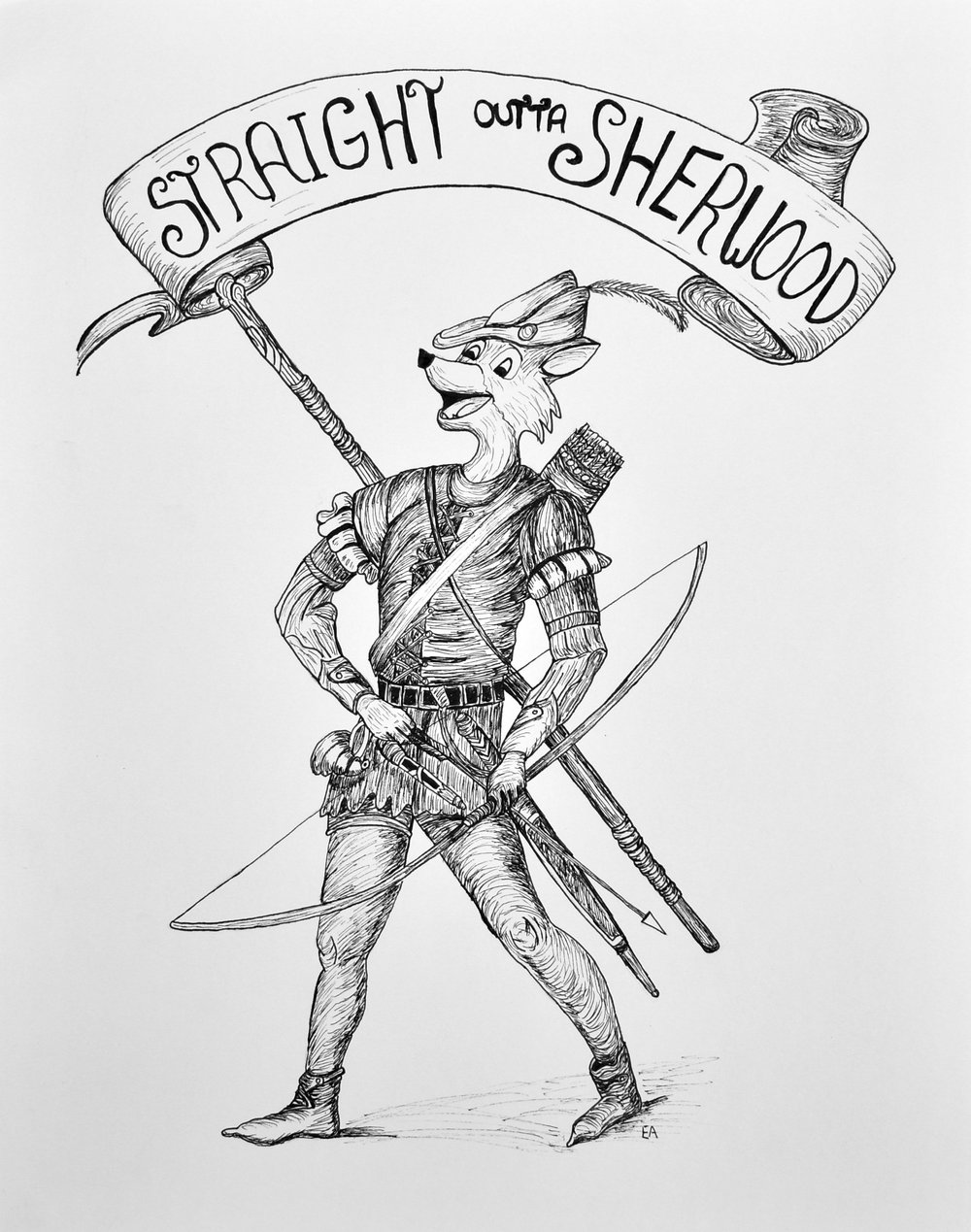 """Straight out of Sherwood"" 11x14 pen on Strathmore 400 series paper."