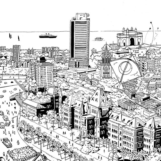 A 23 feet wide artwork was created for an office space in Kala Ghoda, Mumbai. An architectural and symbolic representation of Bombay's evolution in the past 100-150 odd years. We aimed to recreate the things that has made Mumbai arguably the cultural and the financial capital of India. . . . #illustration #designfeed #mural #artwork #artistsofinstagram #architectureanddesign #blackandwhite #blackworkillustrations #thedesigntip #designspiration #birdseyeview #graphicart #spacedesign #environmentdesign #worldofpencils #designmatters #graphicdesignblg #picame #supplyanddesign #illustratedmonthly #illustree #illustrationserved #behance #mgcollective #platformmagazine #skyline #mumbai #streetsofmumbai