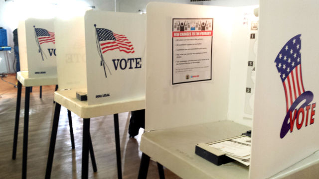 Voting booths. Photo by Stephanie Rivera