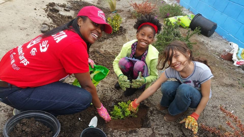 Planting drought tolerant plants at the Al Wooten Jr. Heritage Center - MLK Day 2016
