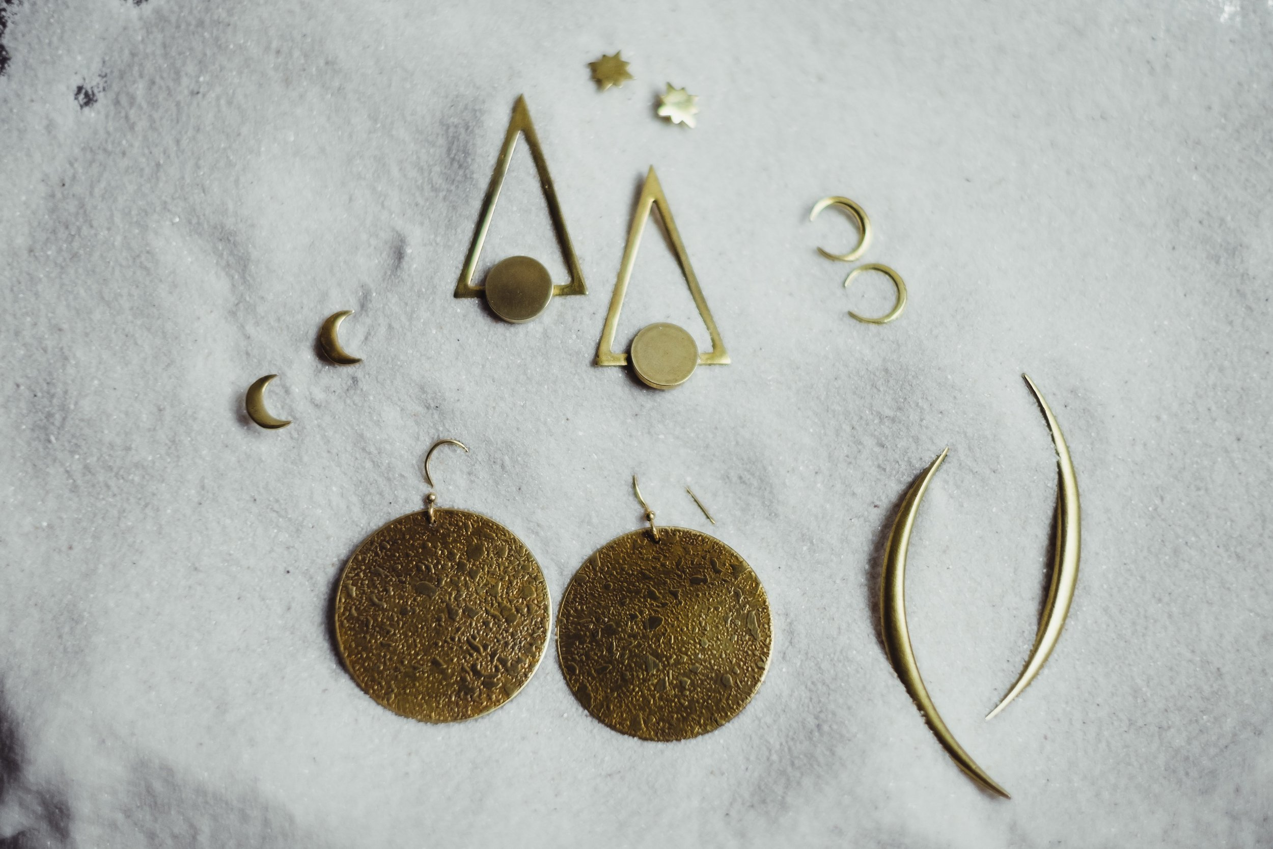 tiny full store moon earrings drops or