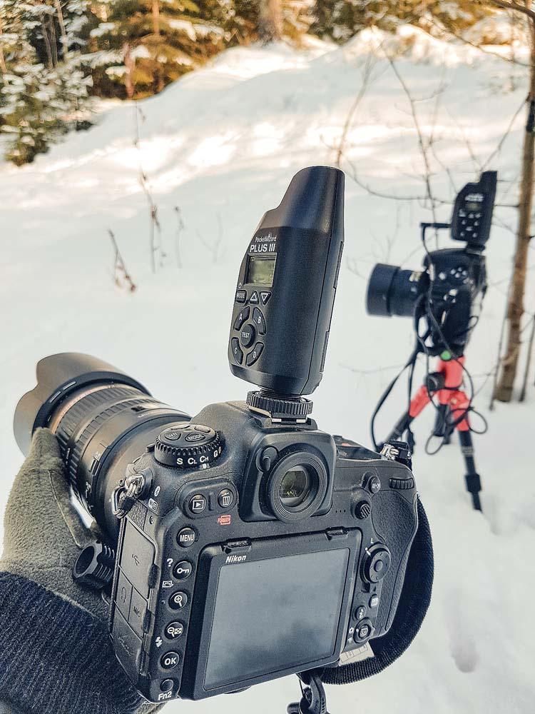 Pääkamera ohjaa etäkameraa PocketWizard radioilla
