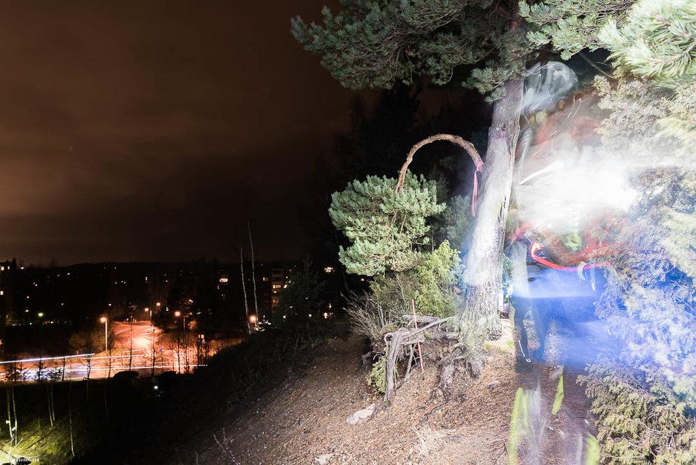 Reunalla. Monet kävelivät rastista (puun juurella) ohi suoraan kohti kameraa ja tältä se sitten näytti pitkässä valotuksessa.