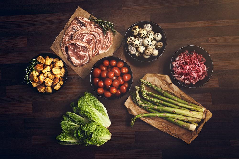 Salaatin raaka-aineet / Pitopalvelu Muru  Valokuva: Kimmo Virkki