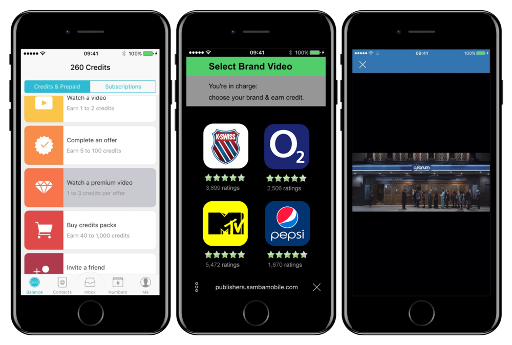 Samba's in app video selector product UX:  User engages in app, user selects video, 100% viewable play