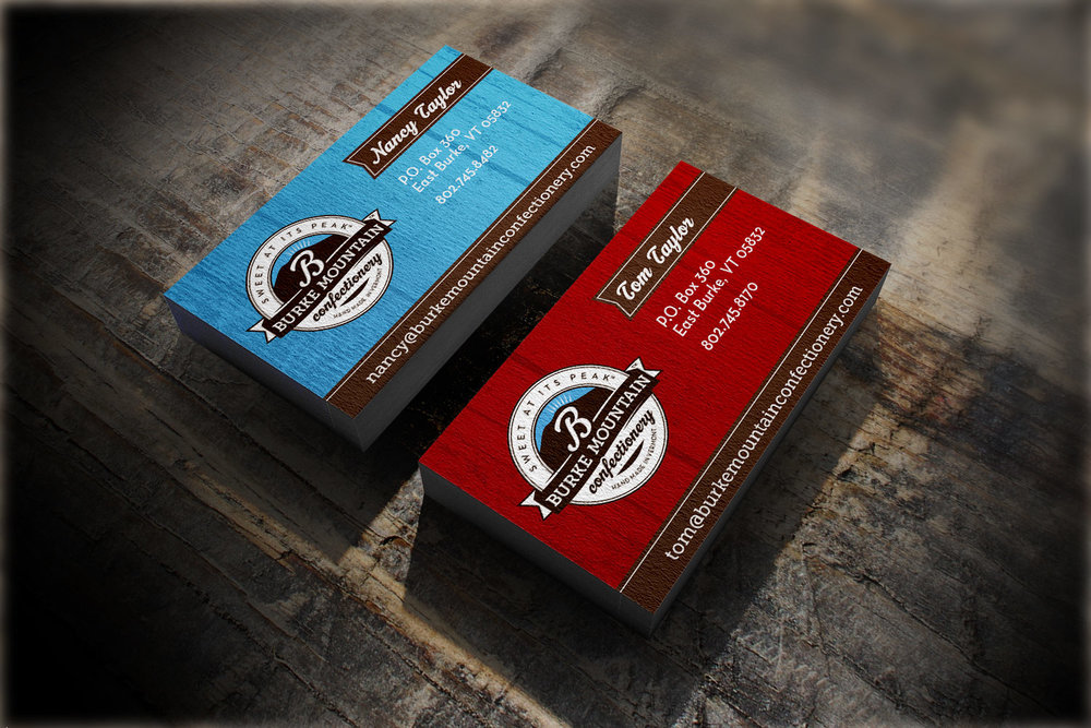 Burke Mountain Confectionary business cards