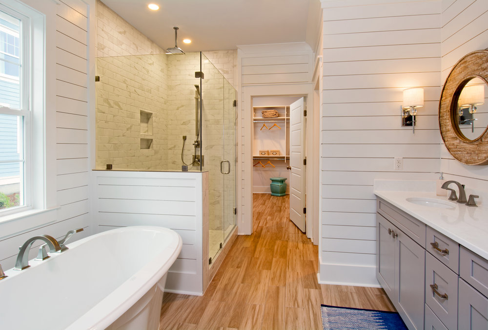Master Bath, Firethorn Model Home, 225 Bumble Way.  Summers Corner, Summerville, SC.