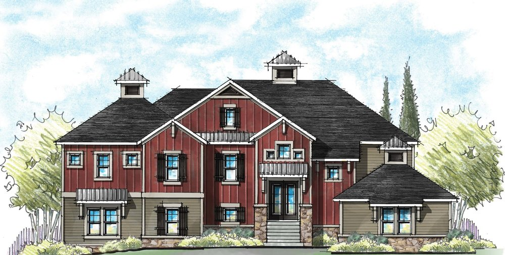 We went bold with the classic barn red on this farmhouse design for Schumacher Homes.