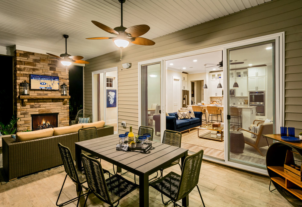Outdoor Living, Enthusiast Model Home.  Forge Creek at Flowers Plantation, Clayton, NC.