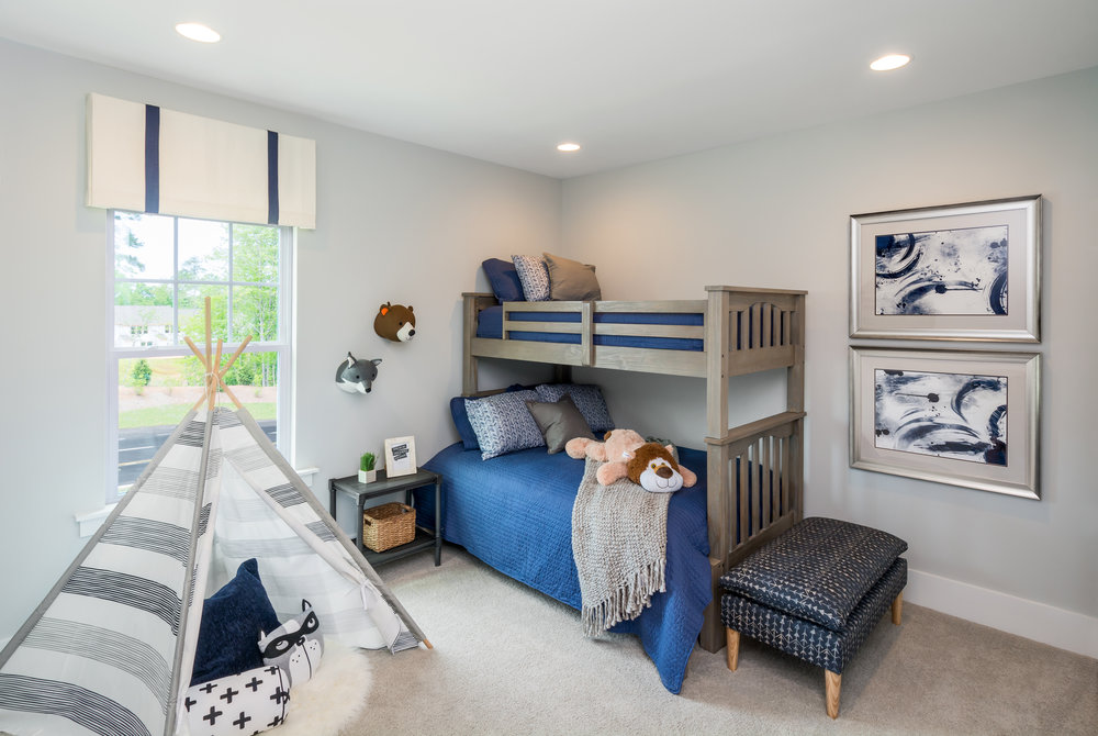 Bedroom 3, Enthusiast Model Home.  Forge Creek at Flowers Plantation, Clayton, NC.