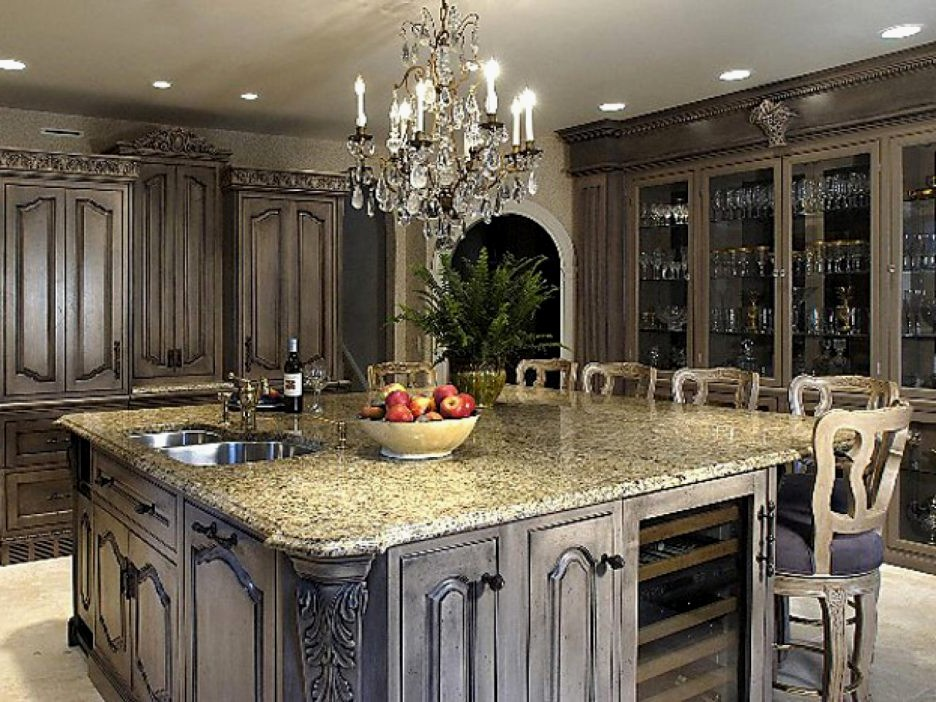 Oversized Kitchen Island Beautiful oversize kitchen island and granite countertops with chandelier