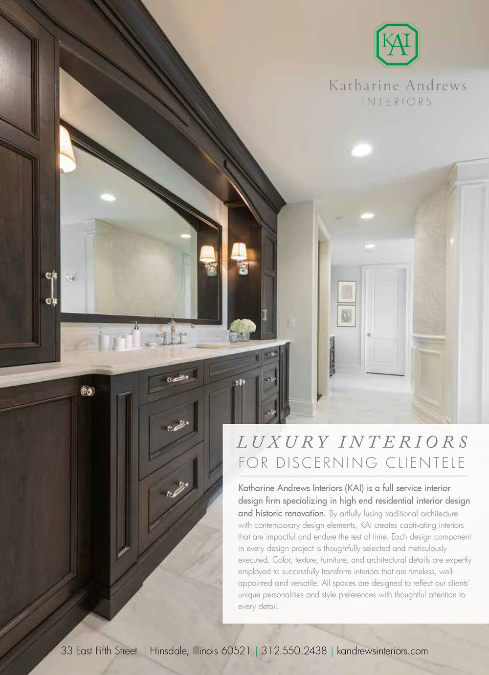 Katharine Andrews Interiors, LLC - Advertisement in Hinsdale Living's Home & Design Fall 2017 Issue (No. 68, October 2017)