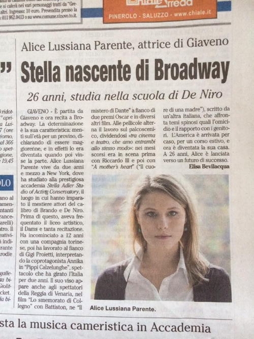 "Alice Lussiana Parente, actress from Giaveno  ""Soon to be Star on Brodway"""
