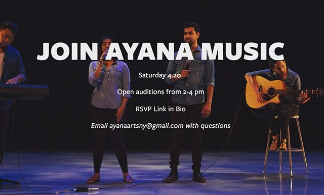 Miss singing, playing an instrument or just jamming out with friends? Join Ayana Music! Auditions will be held on 4.20 from 2-4pm (instruments will be provided). RSVP required - link with details in bio.  #auditions #music #ayanaarts #bollywood #livemusic #nyc #newyork