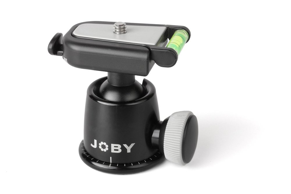 Joby Ballhead   Needed on top of Joby legs. One nob to control tightness and a handy level bubble.