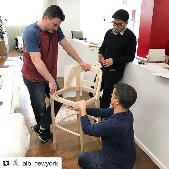 Behind the scenes photo of @alb_newyork working on our client's custom kitchen stools! #Repost from @alb_newyork with @repostapp ・・・ Going over a project for @forehand_lakedesign #alb #newyork #custom #upholstery #furniture #curtains #madeinamerica #interiordesign #architecture #albehindthescenes #albworkroom
