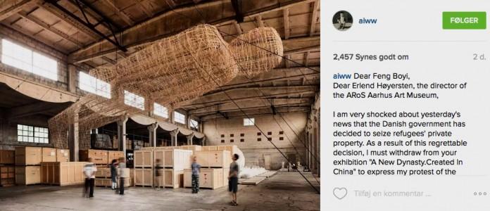 Opslaget på Ai Weiwei's Instagram, der meddelte at han ville trække sit værk Yu Yi tilbage fra udstillingen på ARoS.