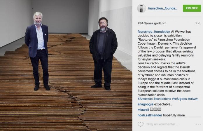 Opslaget på Faurschous Instagram, der meddelte Ai Weiwei's lukning af udstillingen Ruptures.