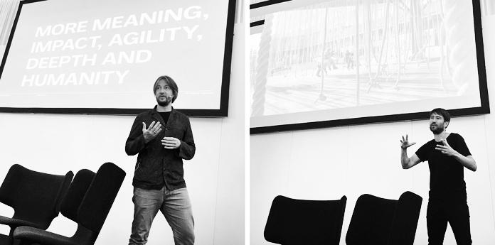 Mads Quistgaard (tv.) & Christian Pagh (th.) snakker til designmessen North Modern | Fra @Urgent.Agency