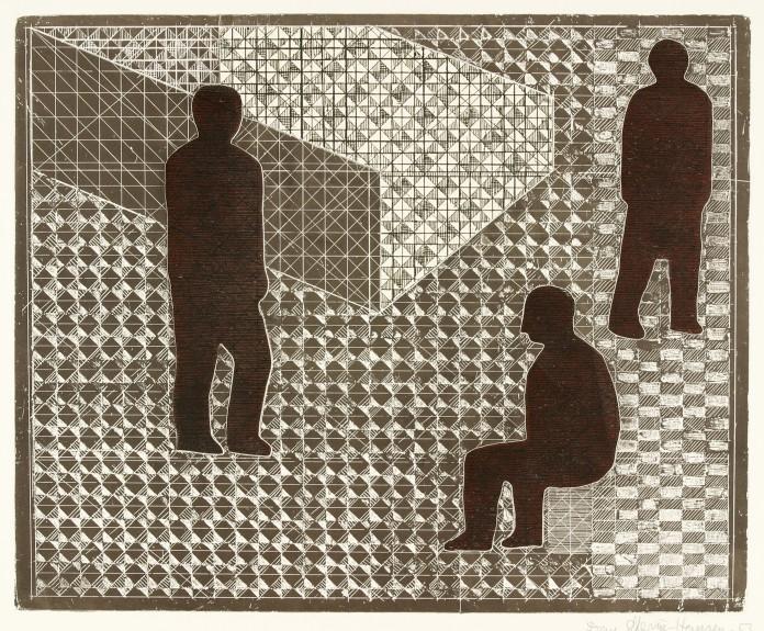 """""""Komposition med tre figurer"""" af Dan Steerup-Hansen, fra 1953."""