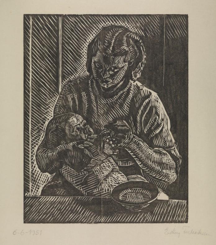 """""""Mor, der mader sit lille barn"""" af Erling Frederiksen, fra 1951."""