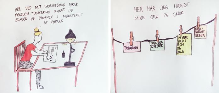 Et par af mine egne små illustrationer om hvordan jeg med kreativitet kan skabe balance og ro.