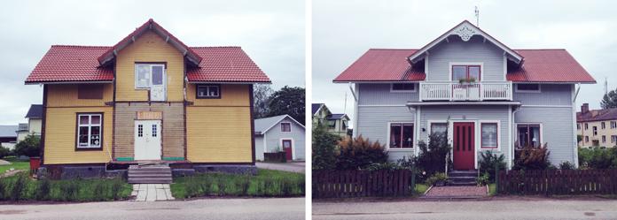"""Jernbanen """"Gamla Banan"""" og to huse i byen Norberg."""
