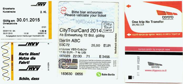 Min samling tæller blandt andet billetter fra Hamborgs U-Bahn, Berlin og sporvogne i Jerusalem.