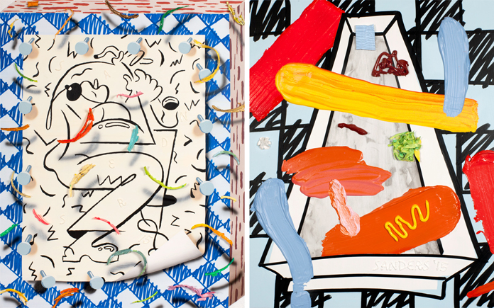 Left: Smooz Yazz, Acrylic and collage on panel | Right: Condiments No.7, Acrylic, oil, spray enamel on panel.