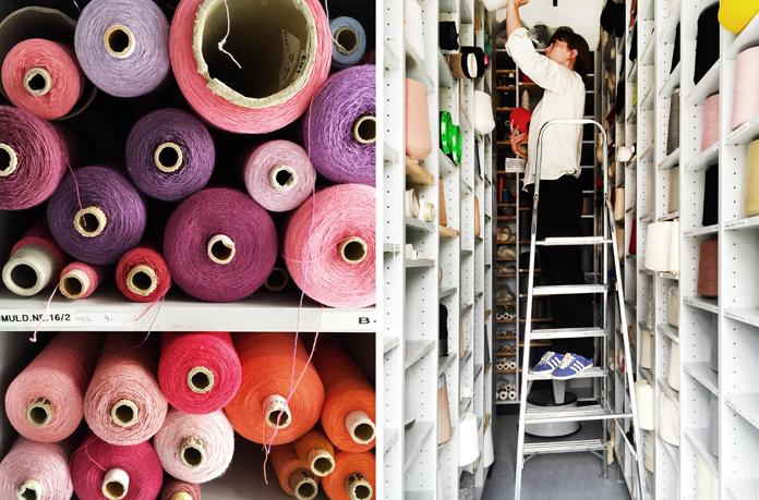 Garnlager på tekstildesign.