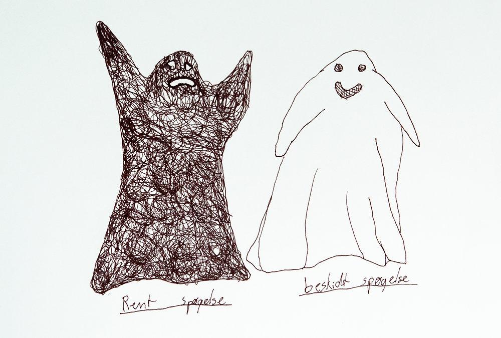 """""""Spøgelser er måske i virkeligheden helt sorte, men de er bare blevet fyldt med støv, fordi de er så gamle."""" – Hans."""