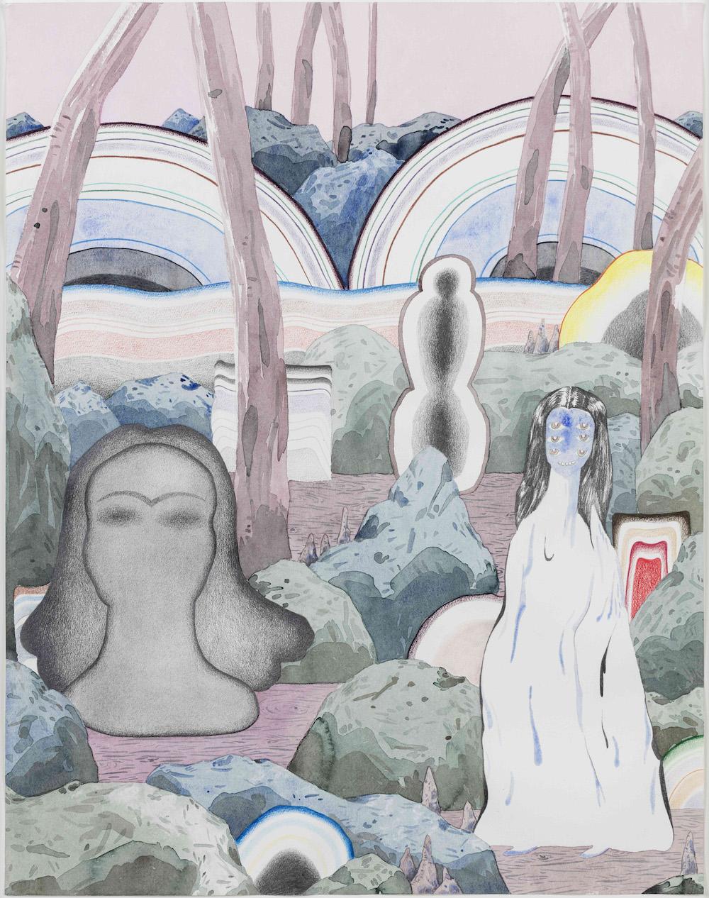 Fie Norsker, Rivers End, 2015 (akvarel og farveblyant på papir, 60x42 cm).