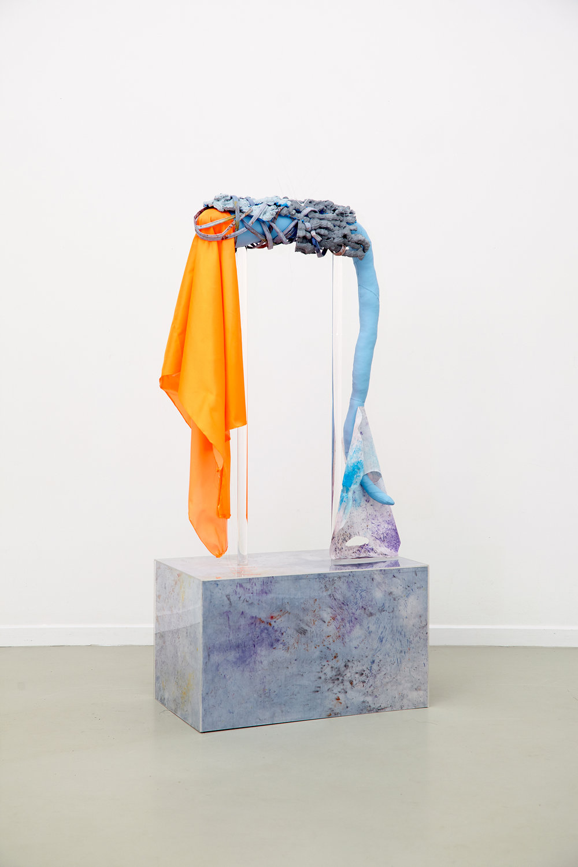 The Remains of Relief, 2016, imitation leather,angin, textil dye, waterglas, wood, plexiglass, thread, vlies. | Photo: Krisztián Zana.