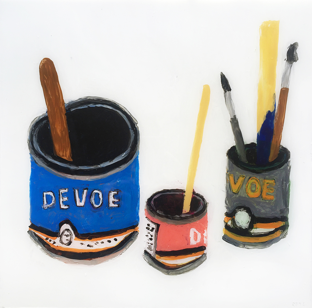 Rose Eken, Devo paintcans with brushes (Acrylic, porcelainpaint and tinselfoil on glass,  32x32cm), 2016.
