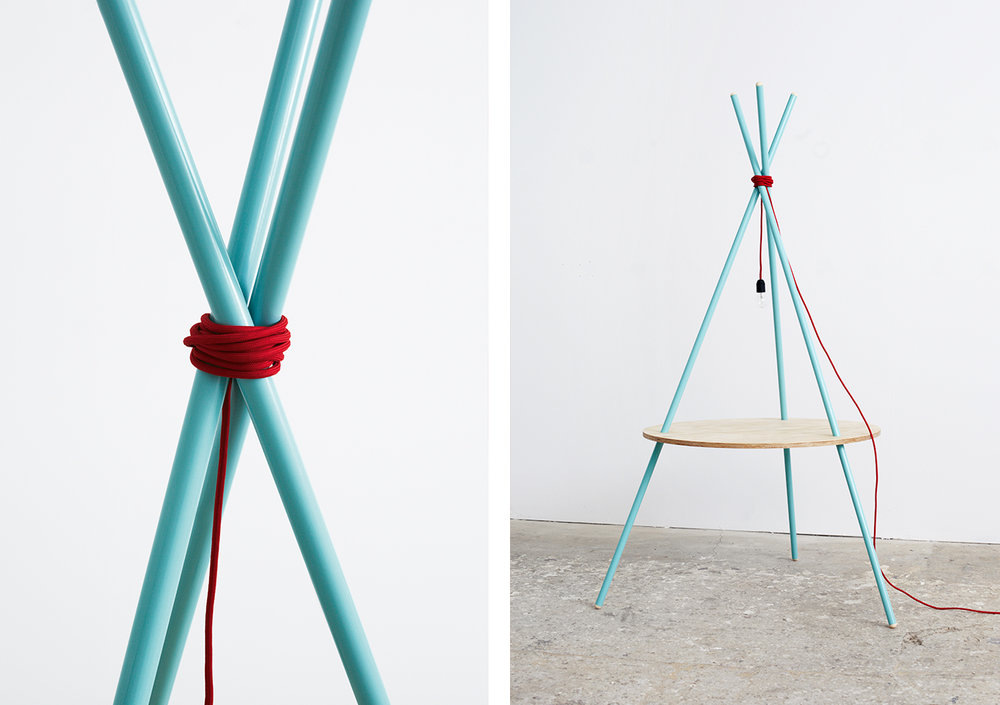 OBJECT II | TUBULAR STEEL, PINE, TEXTILE CABLE, LIGHT BULB | 200 X 150 X 150 CM.