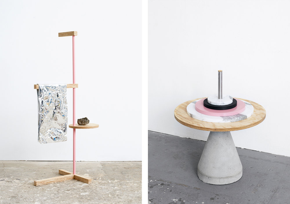 LEFT: OBJECT VIII | POWDER-COATED TUBULAR STEEL, PINE LUBRICATED, PVC-FOIL, STONE | 150 X 72 X 50 CM. | RIGHT: OBJECT V | CONCRETE, HIGH-GRADE STEEL, CALACATTA MARBLE, PINE + FIBERBOARD LUBRICATED & VARNISHED, 55 X 62 X 55 CM.