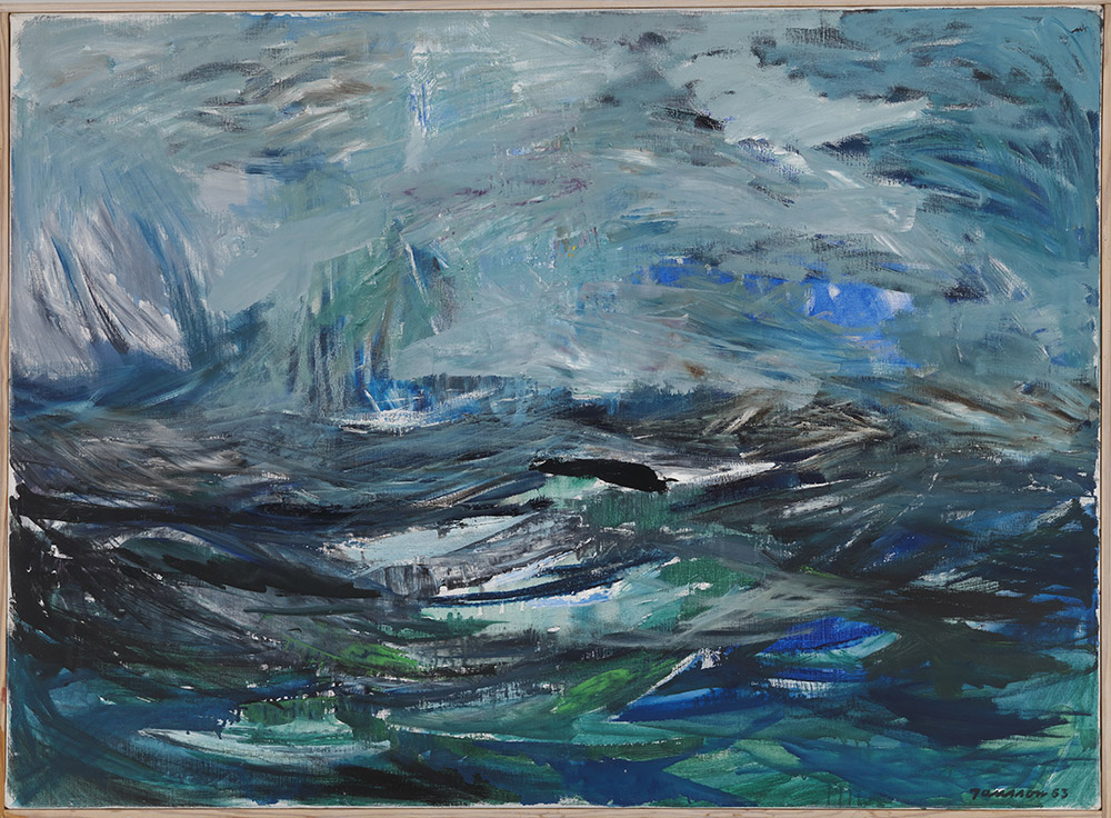 Tove Jansson, Abstrakt hav, 1963, olie, 73 x 100 cm, Privatsamling. Foto: Finlands Nationalgalleri / Hannu Aaltonen.