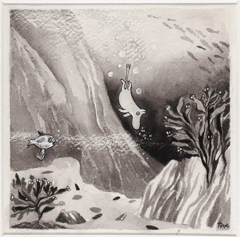 Tove Jansson, Illustration til bogen Kometjagten, 1946, lavering og tusch på papir, 15,8 x 15,8 cm, Tammerfors kunstmuseum, Mumidalen. Foto: Finlands Nationalgalleri / Hannu Aaltonen.