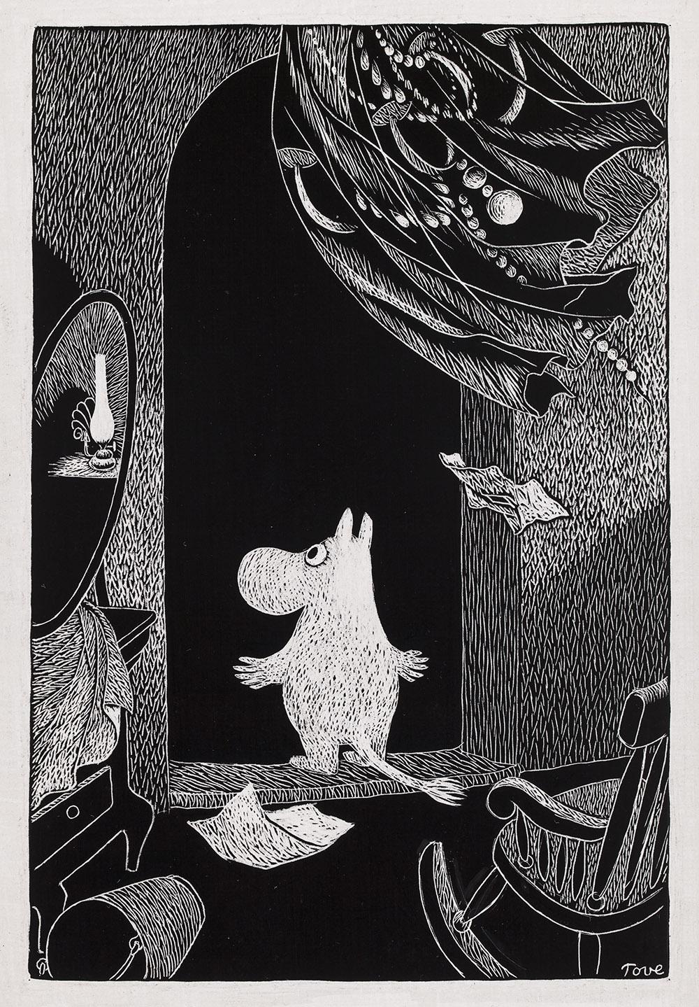 Tove Jansson, Illustration till bogen Troldvinter, ca. 1956, skrapteckning på karton, 13x18,5 cm, Privatsamling. Foto: Finlands Nationalgalleri/Ainur Nasretdin.