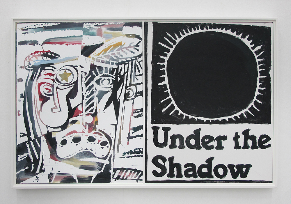 B. Thom Stevenson, Under the shadow (Stereo Painting), 2017 (Oil on canvas, in white floating frame. Total dimensions: 51 x 82 cm).