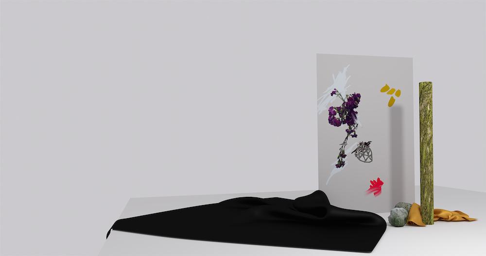 "Lotte Rose Kjær Skau ""Fire Gule Digital Pletter"", 2016 (digital maleri i 3D miljø)."