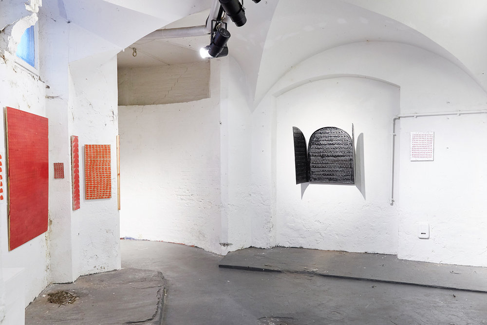 "Installation view from ""Heading for a land of eternal sunshine"" by Nina Wengel (DK) and Annika Unterburg (DE) curated by Tijana Miskovic (Ex.YU/DK) at xpon-art Hamburg, March 2017. Photo: stephiwald.com."