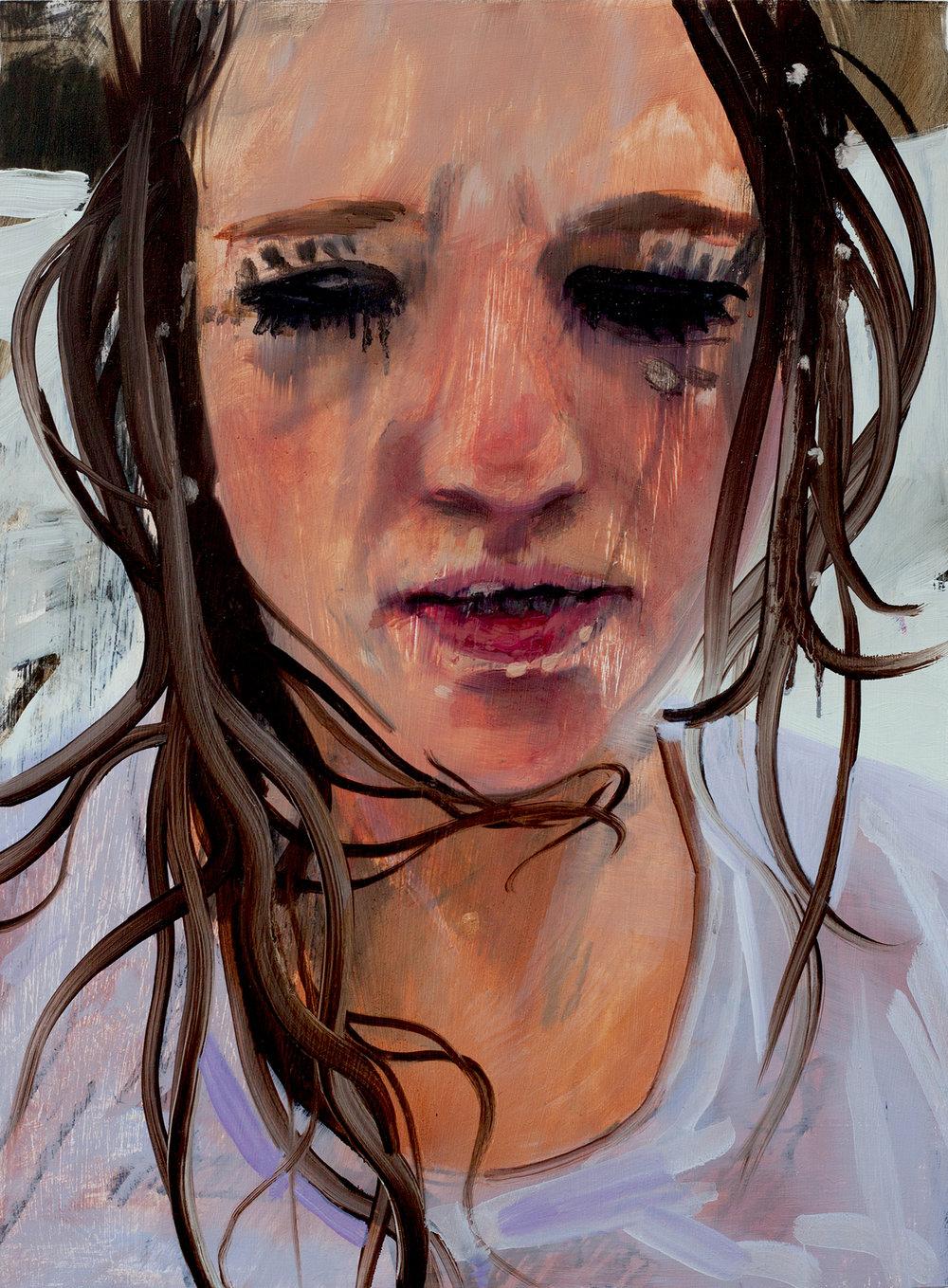 "Sara-Vide Ericson ""Myth Maid (Mascara)"", 2017 (Oliemaling på træ)."
