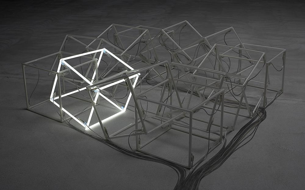 Jeppe Hein, Moving Neon Cube, 2004. ARKEN Museum for Moderne Kunst.