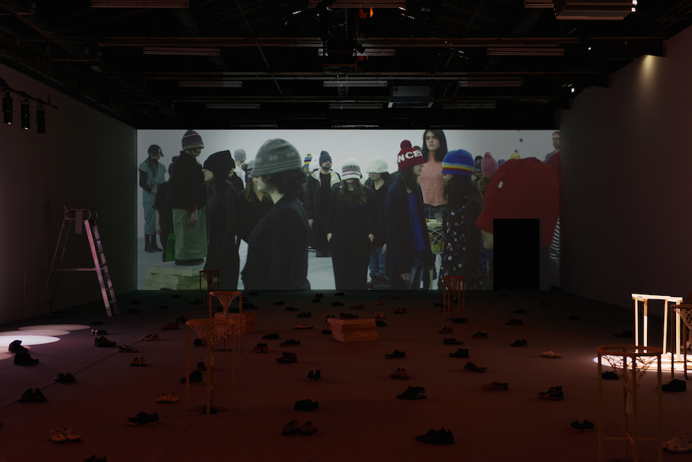 """Taro Izumi """"Worms can differentiate between the laughter and cries of locusts"""" (installation view) 2017."""