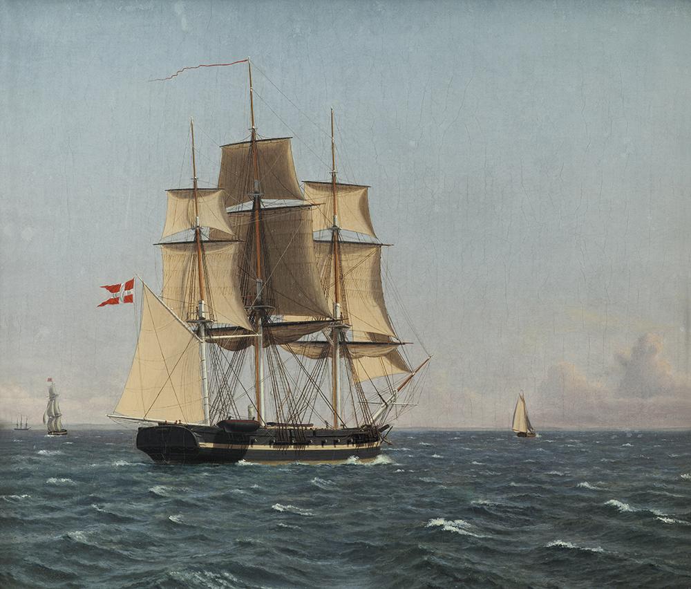 """C.W. Eckersberg """"Korvetten Najaden i sundet venter fregatten Bellona"""", ca. 1834. Nivaagaards Malerisamling."""