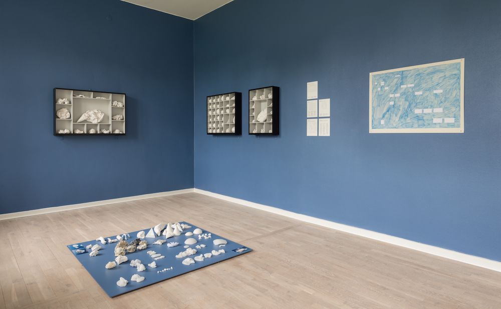 "Helene Hellmich ""Museum: Part 2 (Clouds)"", 2013 – 2017 (Paper, plaster, wax, wood, display cases, floor plate, paint). Courtesy the artist. Photo: Kurt Nielsen."