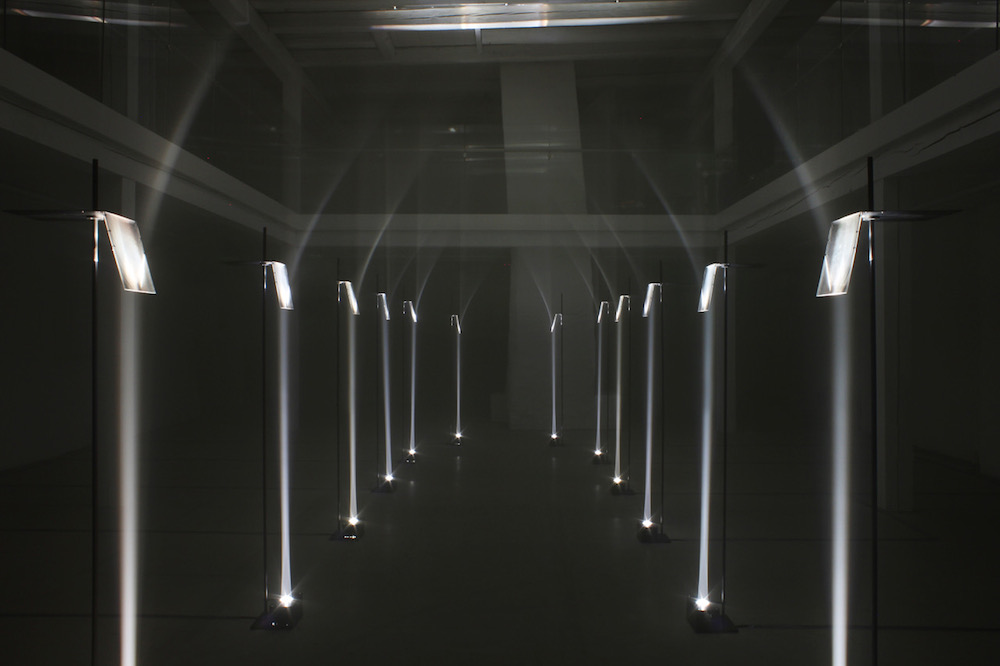 "Troika ""Arcades"", 2012 (Lenses, lights, steel, aluminium). Installation view at Buda Tower, Kortrijk, Belgium. Courtesy the artists."