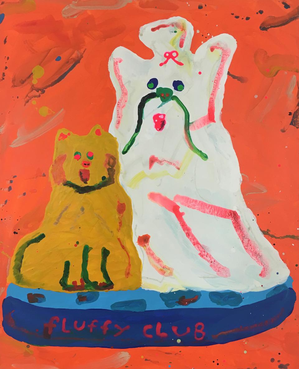 "Misaki Kawai ""Fluffy Club"", 2017 (Acrylic on canvas, 152 x 122 cm)."
