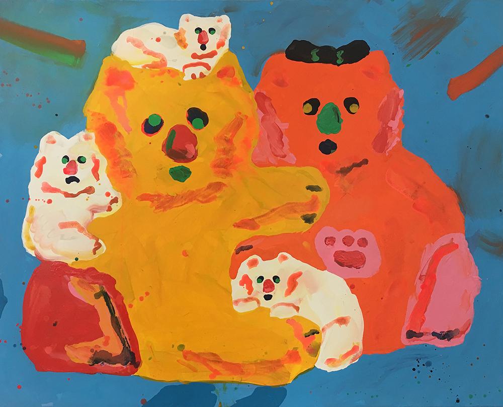 """Misaki Kawai """"Fluffy Family"""", 2017 (Acrylic on canvas, 122 x 152 cm)."""